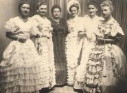 Česká polka 1952 - Anna Faltejsková (Hamplová?), Marie Kurková, Hedvika Chládková, Eliška Nováková, Marie Macháčková (provdaná Svobodová), Eva Adamcová (Havlová)